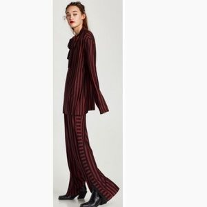 Zara Red & Black Striped Pants Trousers NEW 70's